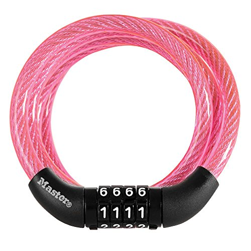 Master Lock Cable Lock, Standard Combination Bike Lock, 4 ft. Long, Pink, 8143DPNK - Bike Chain Lock