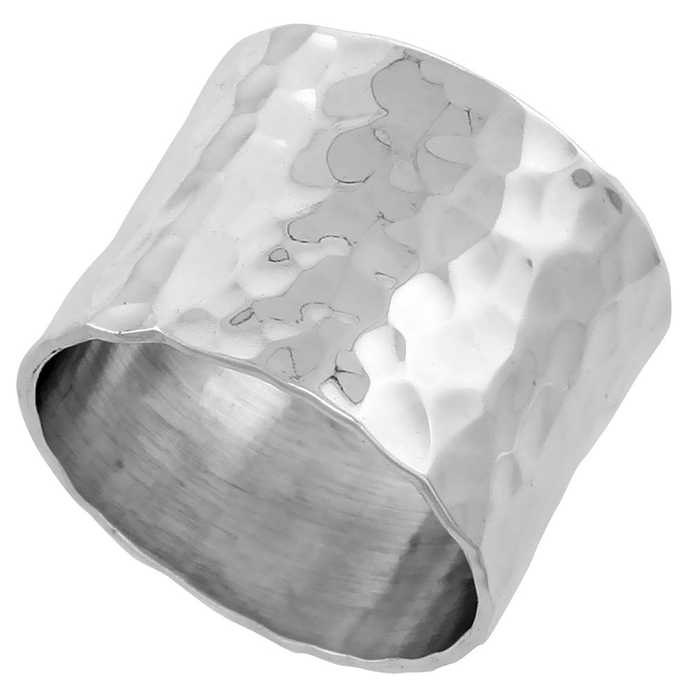 Sterling Silver 14mm Hammered Wedding Ring Flat Top Handmade 9/16 inch Wide, Size 5 by Sabrina Silver