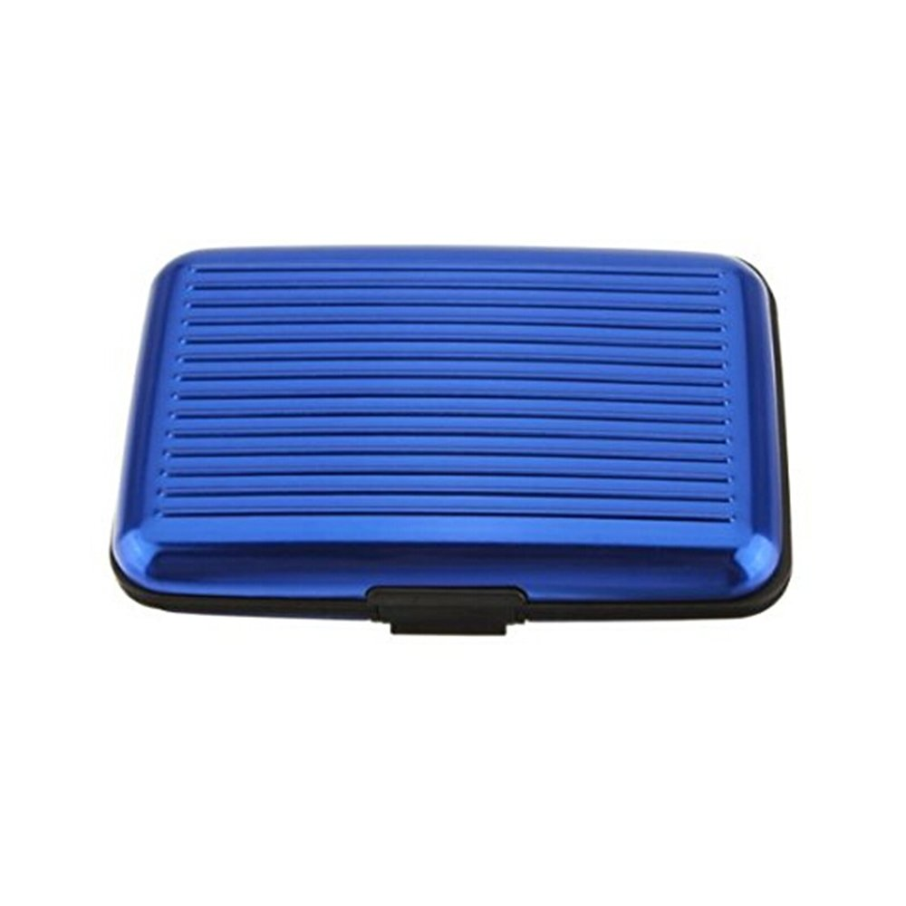 Porte-Cartes *BLEU* Carte Bleue CB Visite Aluminium Rigide Secutity Credit Card Wallet Holder *BLEU* Rocita