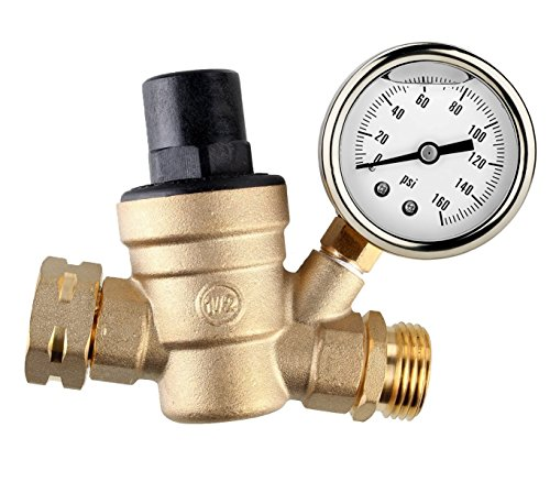 Water Pressure Regulator, Brass Lead-free Adjustable RV Water Pressure Reducer with Guage and Inlet Screened Filter, 160 PSI Gauge with oil, By Kepooman (Gauge with oil)