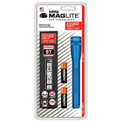 The blue 97-lumen mini maglite(r) LED flashlight has full-power/low-power/blink/sos modes. It changes modes through an electronic switch. This sleek and compact flashlight has a 145-meter beam distance and comes with two AA batteries and a ho...