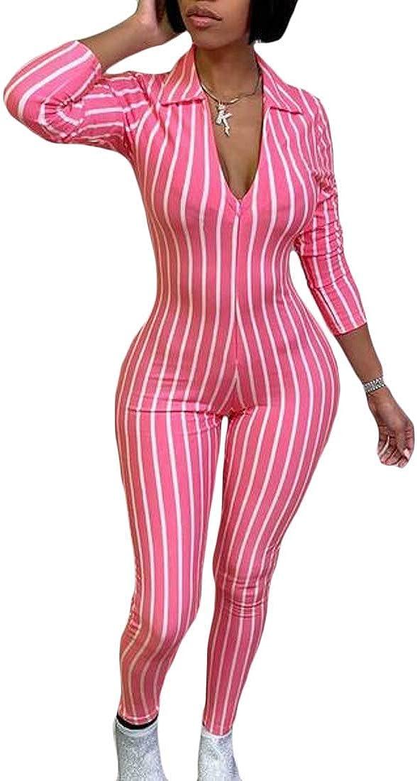 omniscient Women Jumpsuit Stripe Plunge V Neck Long Sleeve Bodycon Long Romper Clubwear