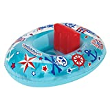 SwimSchool Lil' Skipper Baby Boat with Adjustable Backrest Safety Seat, Inflatable Pool Float, 6 to 18 Months, Blue/Red