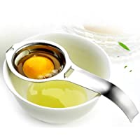 Utoptech Yolk Stainless Steel Filter Divider Kitchen White Egg Separator Dishwasher Safe Tool (Silver)