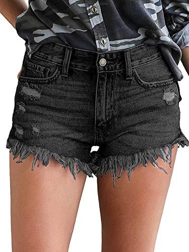 Govc Womens Jean Shorts Mid-Rise Frayed Raw Hemline Ripped Denim Short Jeans(Black,L)
