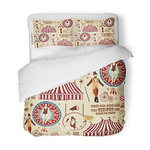 - SanChic Duvet Cover Set Vintage Pattern of The Circus Ticket Trapeze Acrobat Decorative Bedding Set with 2 Pillow Cases Full/Queen Size