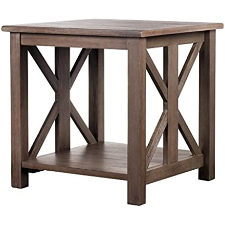 Solid Wood Rustic Farmhouse End Table Weathered Gray East End Collection Living Room Furniture