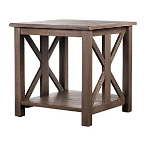 Solid Wood Rustic Farmhouse End Table - Weathered Gray - East End Collection - Living Room Furniture.