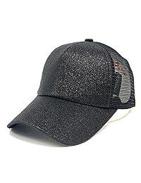 Sinfu® 2018 Women Ponytail Baseball Cap Sequins Shiny Messy Bun Snapback Hat Sun Caps