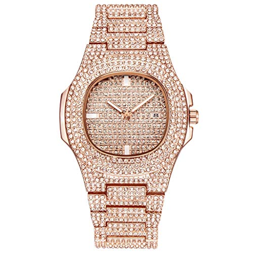 Watches Clearance,Fashion Bussiness Steel Belt Calendar Watch Full Of Diamonds Wrist Watch(Rose Gold)
