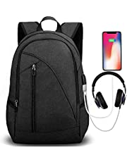 Deal on Tocode Water Resistant Laptop Backpack with USB Charging Port Headphone Port Fits up to 17-Inch Laptop Computer Backpacks Travel Daypack School Bags for Men and Women Black. Discount applied in price displayed.