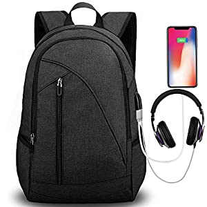 Tocode Water Resistant Laptop Backpack with USB Charging Port Headphone Port Fits up to 17-Inch Laptop Computer…