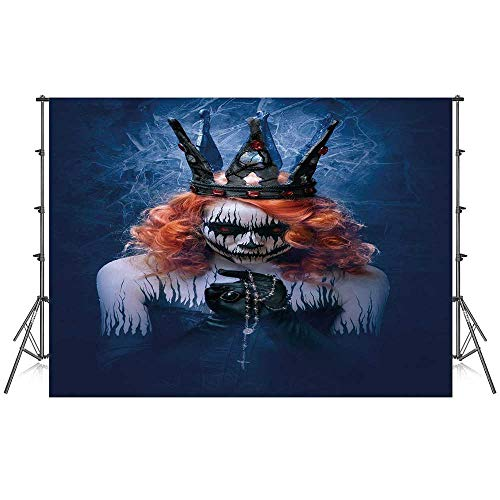 Queen Stylish Backdrop,Queen of Death Scary Body Art Halloween Evil Face Bizarre Make Up Zombie for Photography Festival Decoration,86''W x 59''H
