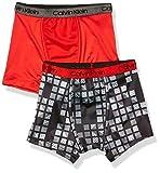 Calvin Klein Little Boys' Kids Performance Boxer Brief Underwear, Multipack, 2 Pack - CK Logo Box Geo Black, High Risk Red, XL