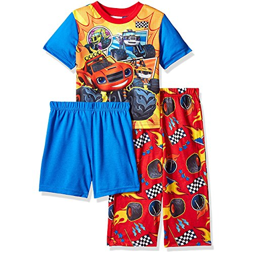 Nickelodeon Toddler Boys' Blaze 3-Piece Pajama Set, Blazing' Blue, 4T Blaze Apparel