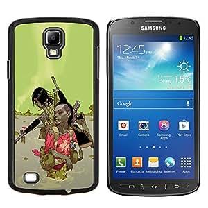 YiPhone /// Prima de resorte delgada de la cubierta del caso de Shell Armor - Green Abstract War Machine Pistola - Samsung Galaxy S4 Active i9295