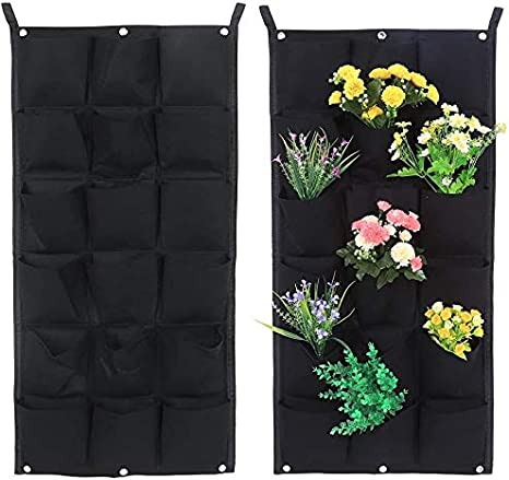 9 Pockets Flowers Wall Hanging Planting Bag 9 Pockets Vertical Garden Wall-Mounted Planters Bag Grow Bags Plant Pouch Container for Indoor Outdoor Plant Vegetables or Herbs