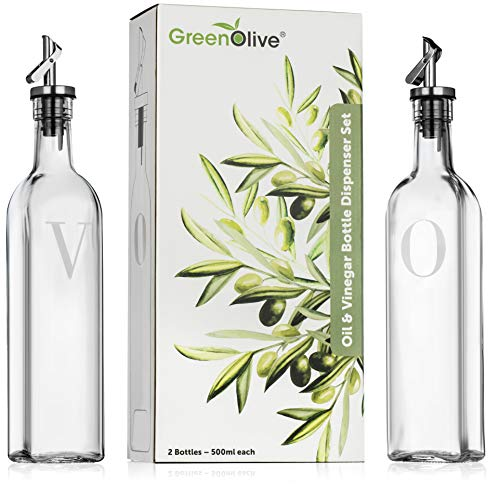 Olive Oil and Vinegar Dispenser Set - 500 ml Perfect Glass Vinegar and Olive Oil Dispenser Bottles with Stopper for Cooking BPA Free Gravity Spout (Glass Vinegar And Set Oil)