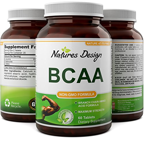 BCAA Pills-Pure Concentrated Essential Amino Acids-Muscle Recovery + Repair-Build Muscle-Best Lean Gains Supplements -Women + Men - 1000 mg Powder Tablets - 3000 mg Dosage - Natures Design