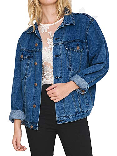 Eliacher Women's Boyfriend Denim Jacket Long Sleeve Loose Jean Jacket Coats (XL, Dark Blue Washed) (Best Boyfriend Jeans For Pear Shaped)
