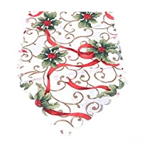 GUAngqi Christmas Table Runner, Decorative Placemats Christmas Tapestry Table Mat Xmas Table Linens Wedding Party Banquet Decor,Red Fruit