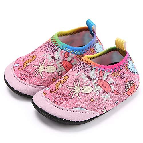 Ceyue Toddler Water Shoes Baby Girls Boys Barefoot Swim Shoes for Indoor Outdoor Pool Beach Garden Walking Octopus 17/18