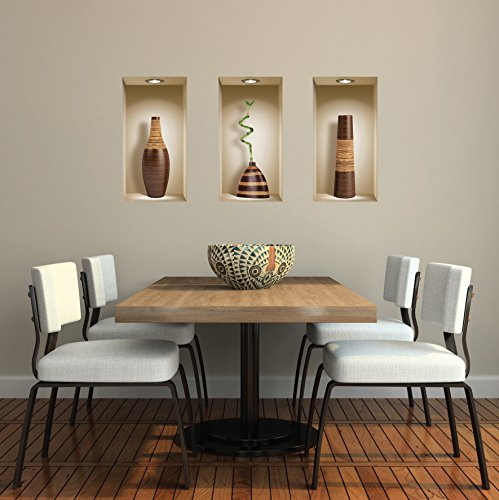 The Nisha Art Magic 3D Vinyl Removable Wall Sticker Decals DIY, Set of 3, Brown Vases by the Nisha (Image #3)