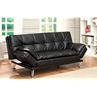 Furniture of America Wilhelm Futon Sofa, Black Leatherette