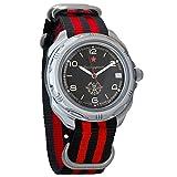 Vostok Komandirskie Russian Signal Corps Army Mechanical Mens Military Commander Wrist Watch #211296 (Black+red)