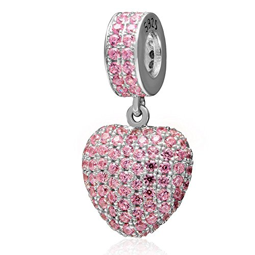 Charmstar Love Heart Dangle Charm with Pave Pink Cubic Zircon Authentic Sterling Silver October Birthstone Pendant Bead Fits European Valentines Bracelet or Necklace