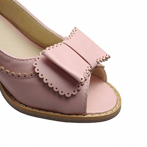Sweet Pink Peep Shoes Color Elegance Carol Pumps Candy Shoes toe Mid Dress Bows Womens Chunky Heel qXRZnwE