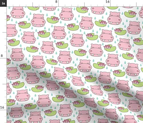 Spoonflower Hippo Fabric - Hippos Hippopotamus Cute Animal Water Lily Raindrops Girl Print by Lilcubby Printed on Basic Cotton Ultra Fabric by The ()