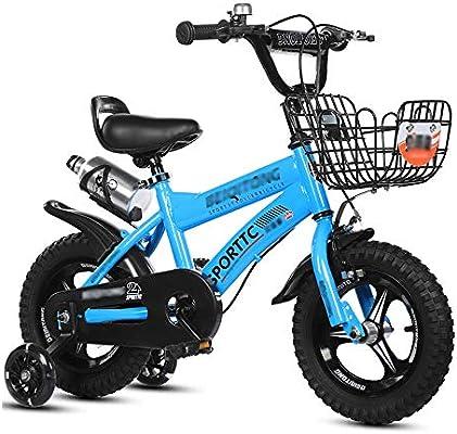 LJJL Bicicleta para Niños Girl Blue, Rueda De Asistencia De Flash para Niños con Asiento Trasero De Una Bicicleta para Pies Bicicletas Infantiles (Color : Blue-2, Tamaño : 46.7CM): Amazon.es: Deportes y
