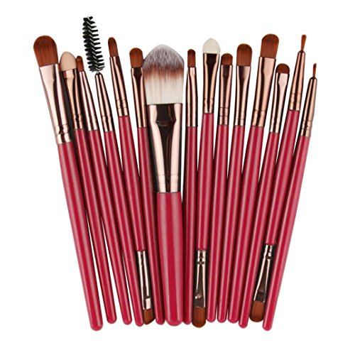 Voberry 15 pcs/Sets Eye Shadow Eyeliner Eyebrow Lip Brush Foundation Makeup Brushes Tool (Coffee)