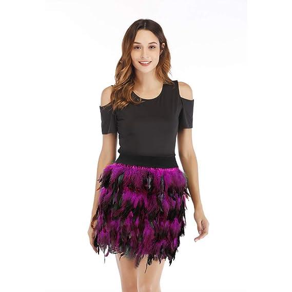 MOOCARE Disfraz de Carnaval Mujeres Falda de Plumas Negras Mini ...
