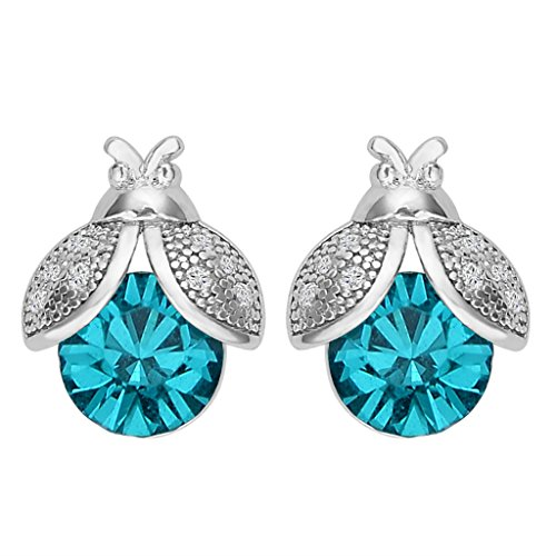 EVER FAITH 925 Sterling Silver CZ Lovely Ladybug Stud Earrings Blue Adorned with Swarovski crystals
