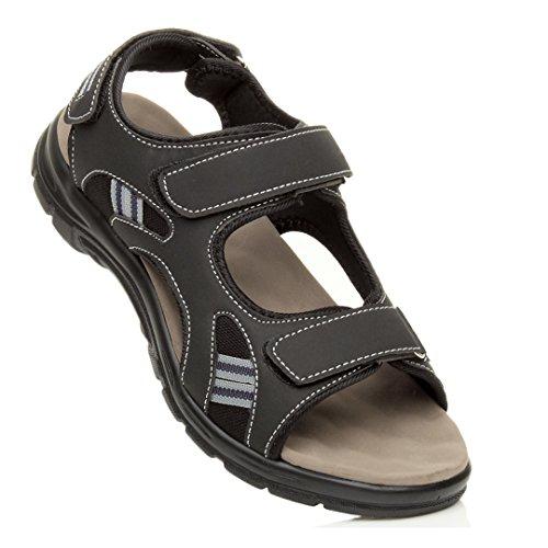 Ajvani Mens Flat Low Heel Flat Hook & Loop Strap Summer Flexible Casual Sandals Size Black