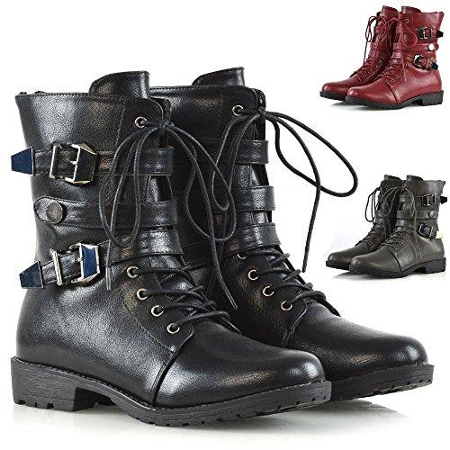 ESSEX GLAM Womens Lace Up Mid Calf Zipper Buckles Combat Military Biker Boots