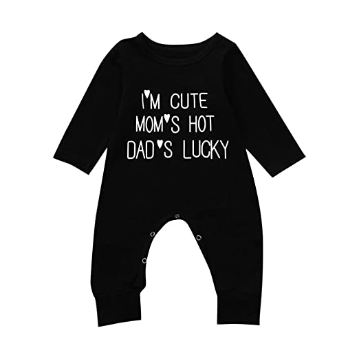 afb361640a50 WARMSHOP Baby Romper Boy and Girl Black Cute Letter Print Long Sleeve  Button-end Cotton