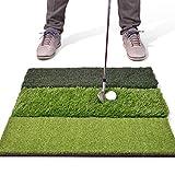 GoSports Tri-Turf XL Golf Practice Hitting Mat | Huge 24' x 24' Turf Mat for Indoor Outdoor Training