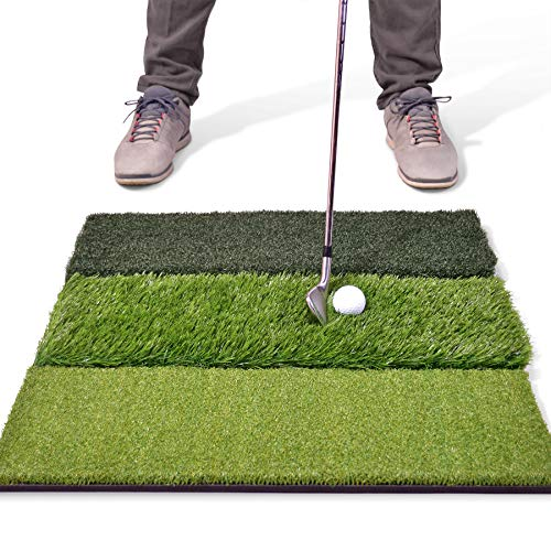 "GoSports Tri-Turf XL Golf Practice Hitting Mat | Huge 24"" x 24"" Turf Mat for Indoor Outdoor Training"