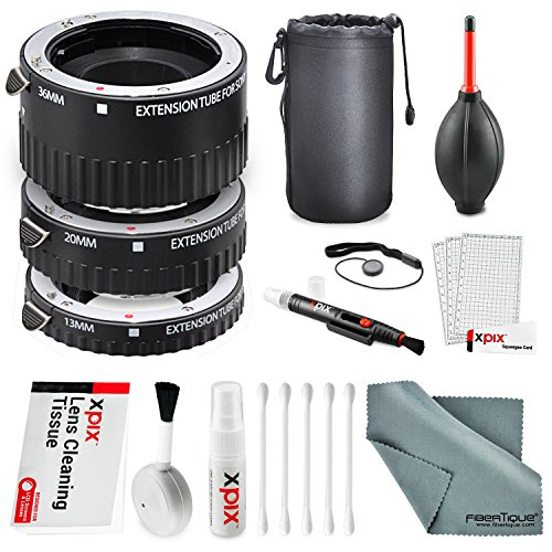 Xit Auto Focus Macro Extension Tube Set for Sony SLR Cameras XTETS with Deluxe Accessory Bundle and Cleaning Kit