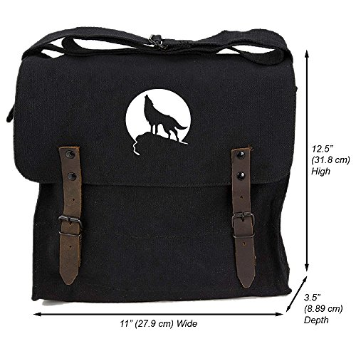 Howling Wolf Moon Heavyweight Canvas Medic Shoulder Bag in Black