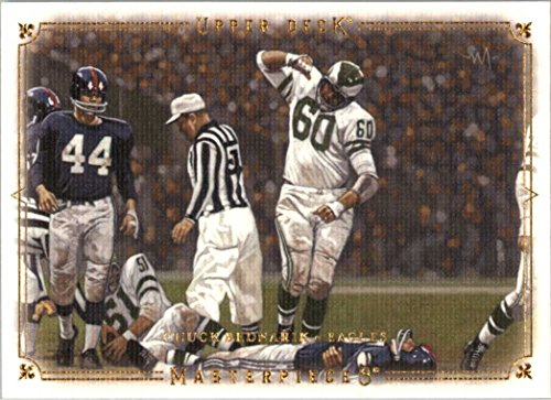 2008 Upper Deck Masterpieces Chuck Bednarik KO's Frank Gifford in 1960 NFL Championship Game Philadelphia Eagles - Mint Condition shipped in an acrylic holder (Masterpieces Upper Deck)