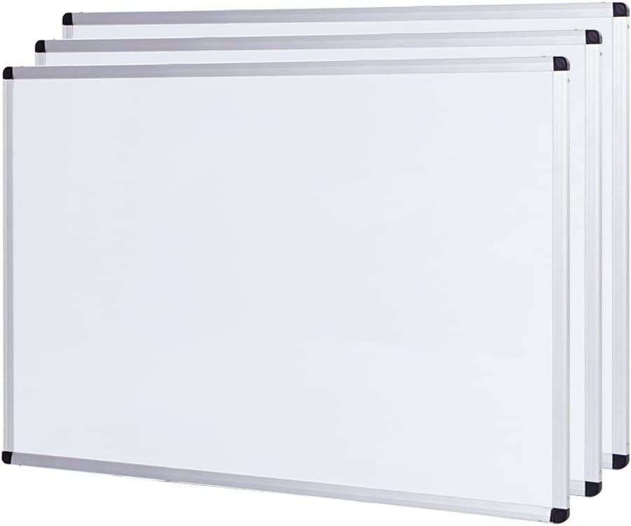 VIZ-PRO Magnetic Dry Erase Board, 24 X 18 Inches,3 Pack, Silver Aluminium Frame
