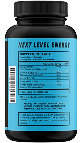 Premium Brain Support Nootropic For Focus, Energy, and Memory Caffeine Pills Mental Performance Brain Supplement With Ginkgo Biloba, Teacrine, Alpha GPC and more! All Natural, Extended Release