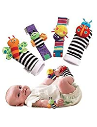 SMTF Cute Animal Soft Baby Socks Toys Wrist Rattles and Foot Finders for Fun Reindeer Set 4PCS (style 1)