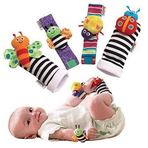 Blige SMTF Cute Animal Soft Baby Socks Toys Wrist Rattles and Foot Finders for Fun Butterflies and Lady bugs Set 4 pcs from Bigib