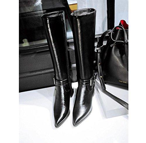 Ei&iLI Hiver Malorie bouton haut Fashion femmes bottes en similicuir extérieur / occasionnel , black , 33
