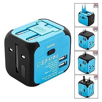 Adaptador Enchufe, SAVIOR Cargador Enchufe USB, Adaptador de Viaje Universal para US EU UK